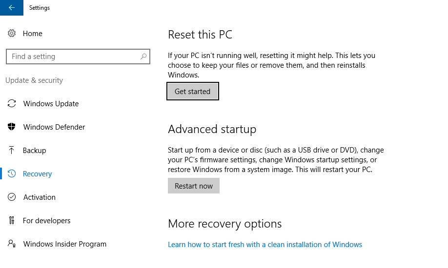 Reset Windows 10