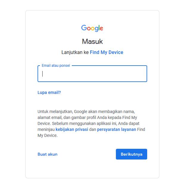 lacak hp dengan gmail