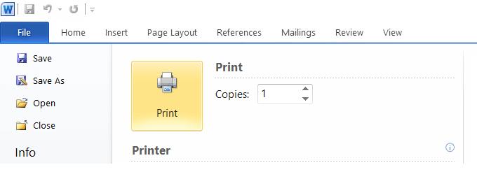 Tombol Print Office Word Dokumen