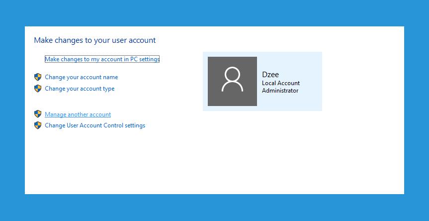 Menu Manage Account