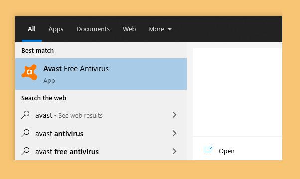 Buka Avast di Start Menu