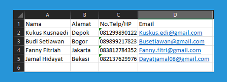Contoh database email