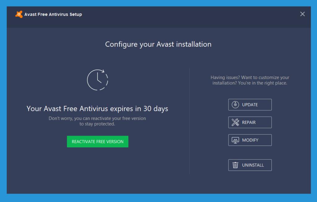 Cara Repair Avast