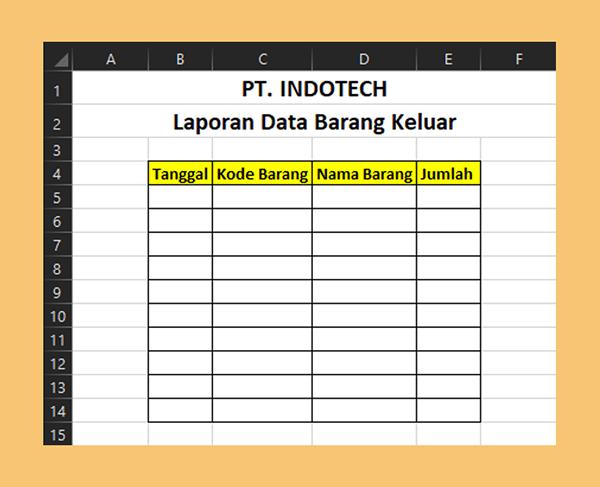Tabel Barang Keluar Excel