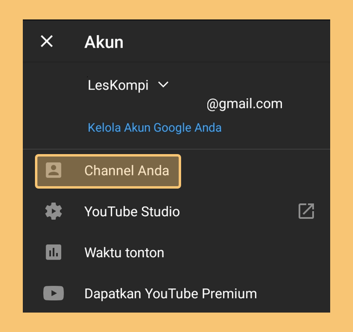 Menu Channel Anda di Youtube