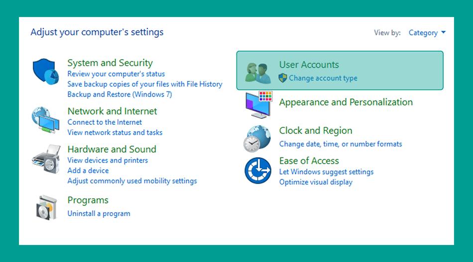 Menu User Account Control Panel