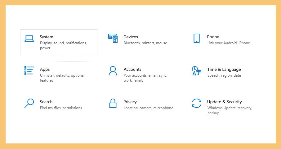Halaman System di Settings Windows