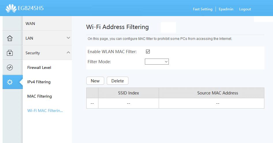 Contoh Router WiFi Memblokir Perangkat