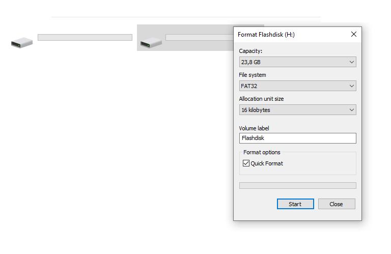 Contoh Format Drive Flashdisk
