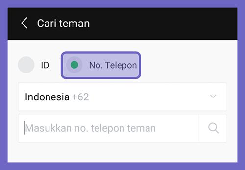 Contoh Masukkan Nomor Telepon Line Teman