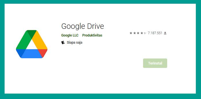 Memasang Google Drive di Playstore