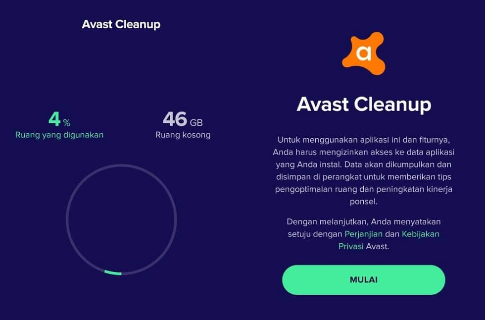 Aplikasi Avast Cleanup Android