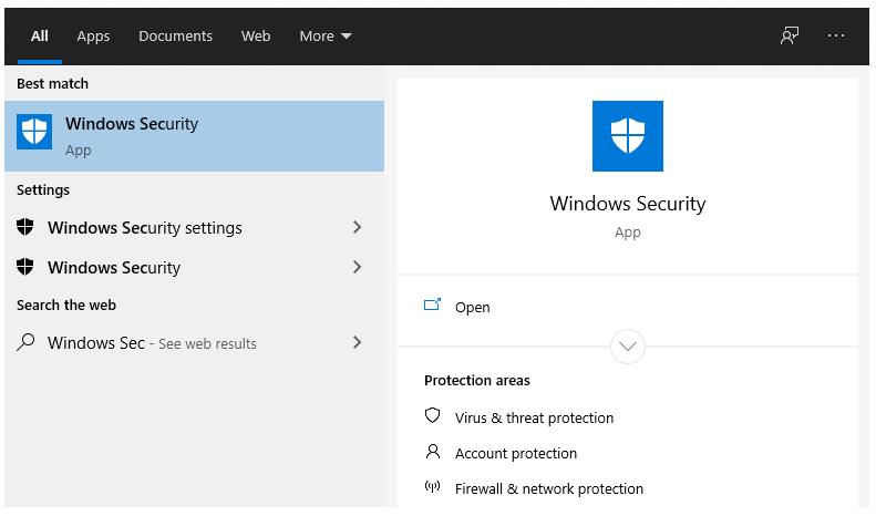 Buka Menu Windows Security di Search