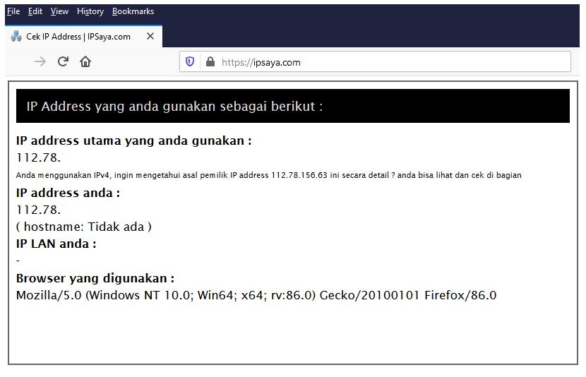Halaman IPSaya di Browser