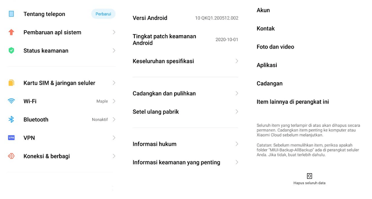 Contoh Reset Android