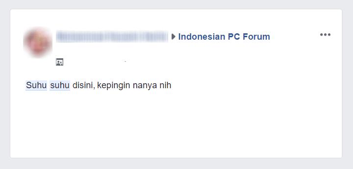 Pesan Suhu di FB