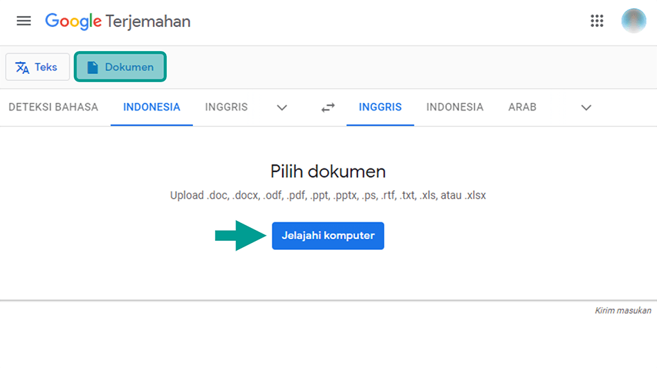 Browse PDF di Google Translate