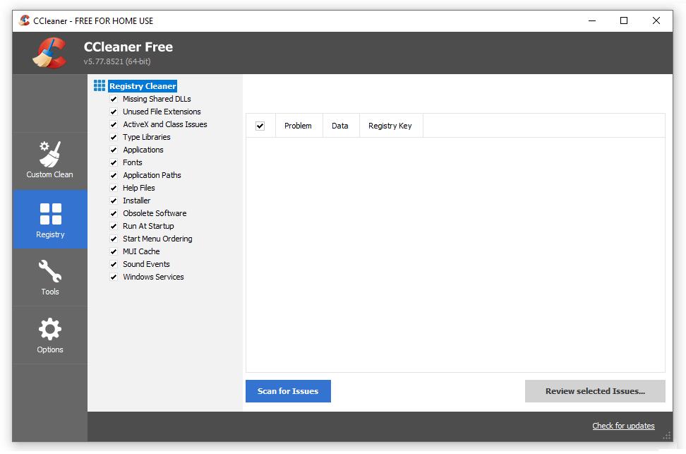 Kolom Registry CCleaner