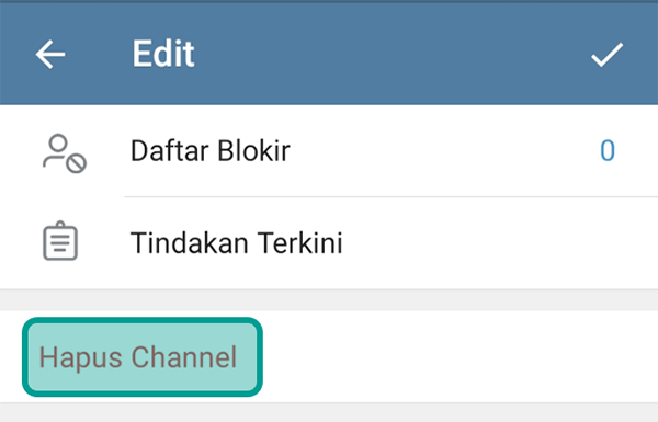 Opsi Hapus Channel